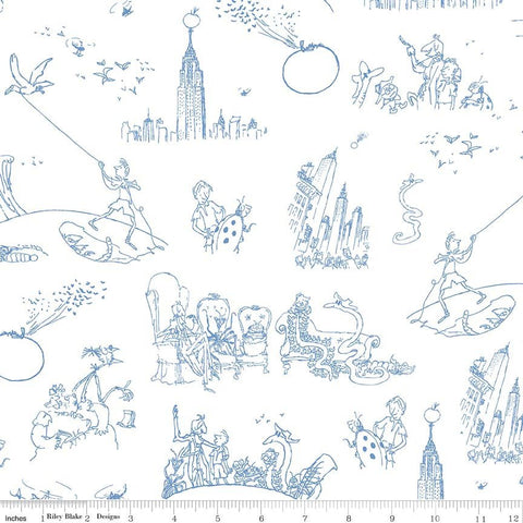 SALE James and the Giant Peach Toile White - Riley Blake Designs - Roald Dahl - Quilting Cotton Fabric