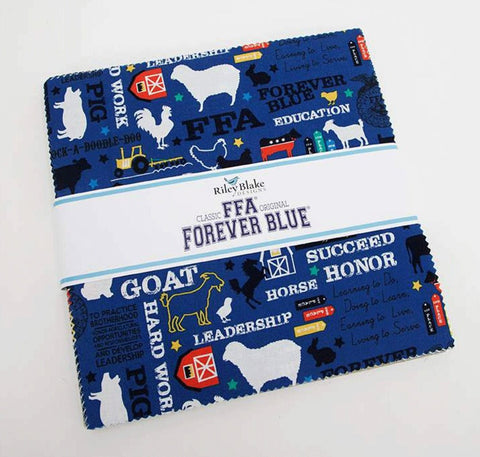 "FFA Forever Blue Layer Cake 10"" Stacker Bundle - Riley Blake Designs - 42 piece Precut Pre cut - Agriculture - Quilting Cotton Fabric"