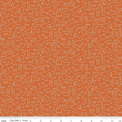 Varsity Playbook Orange - Riley Blake Designs - Sports Basketball - Quilting Cotton Fabric