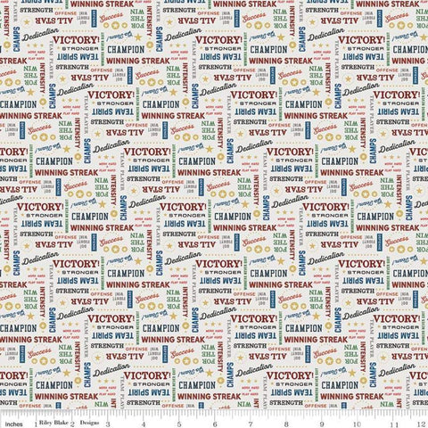 "SALE Varsity Text Off White - Riley Blake - Sports Words Basketball Champions Victory - Quilting Cotton Fabric - 1yd 31"" end of bolt piece"