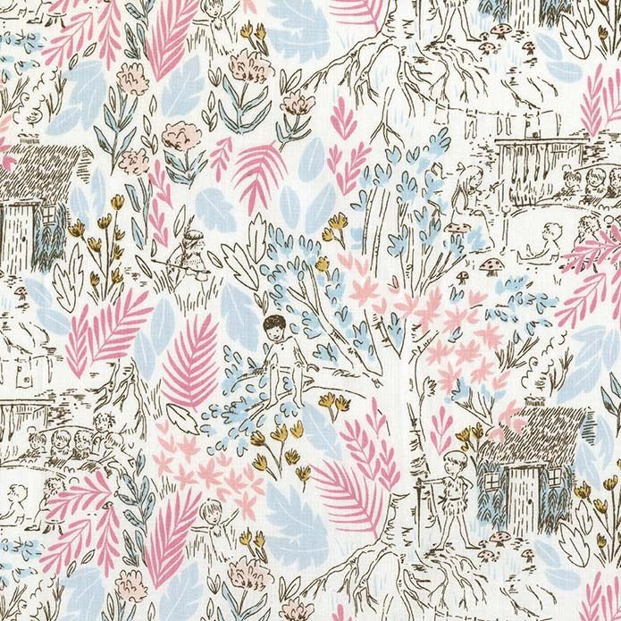 Peter Pan - The Little House - Bloom - Sarah Jane for Michael Miller - Pink Blue - Quilting Cotton Fabric