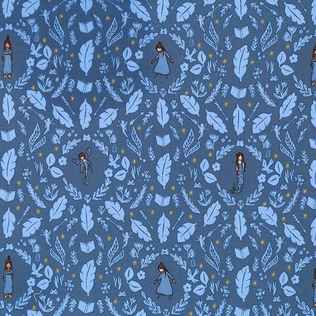 Peter Pan - Girls Are Much Too Clever - Wedgewood - Sarah Jane-Michael Miller - Blue METALLIC- Quilting Cotton Fabric