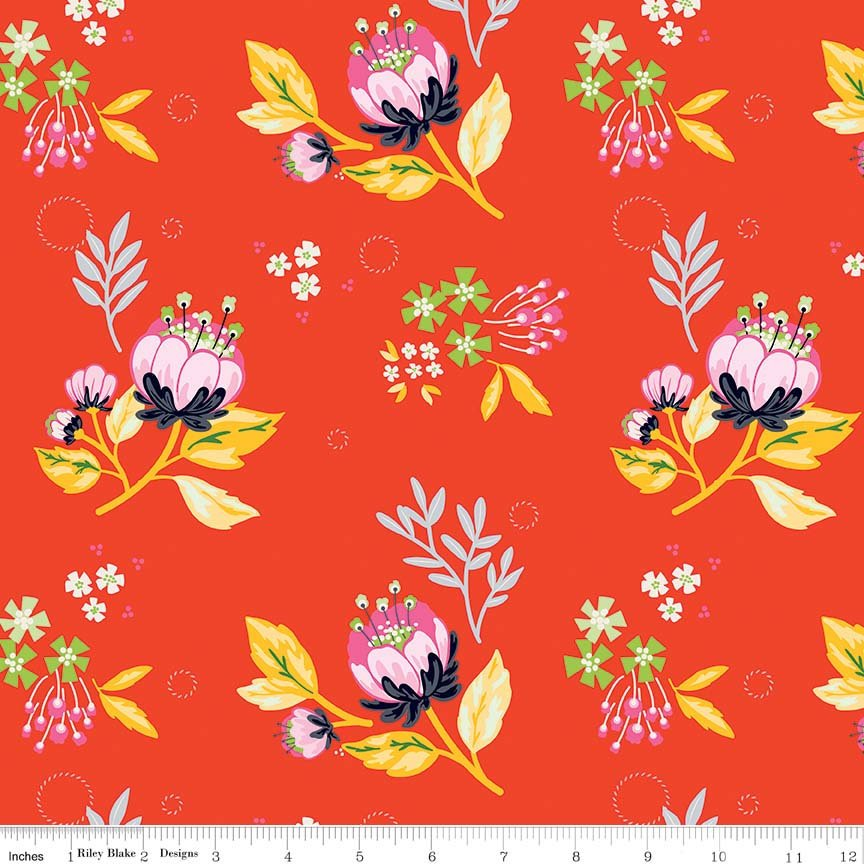 SALE Jubilee Main Red - Riley Blake Designs - Red Yellow Pink Floral - Quilting Cotton Fabric - end of bolt pieces