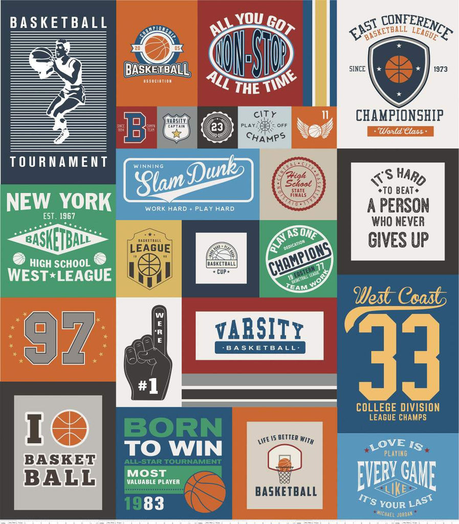 Varsity Basketball Digital Panel by Riley Blake Designs - Sports Sayings Logos Panel- Quilting Cotton Fabric
