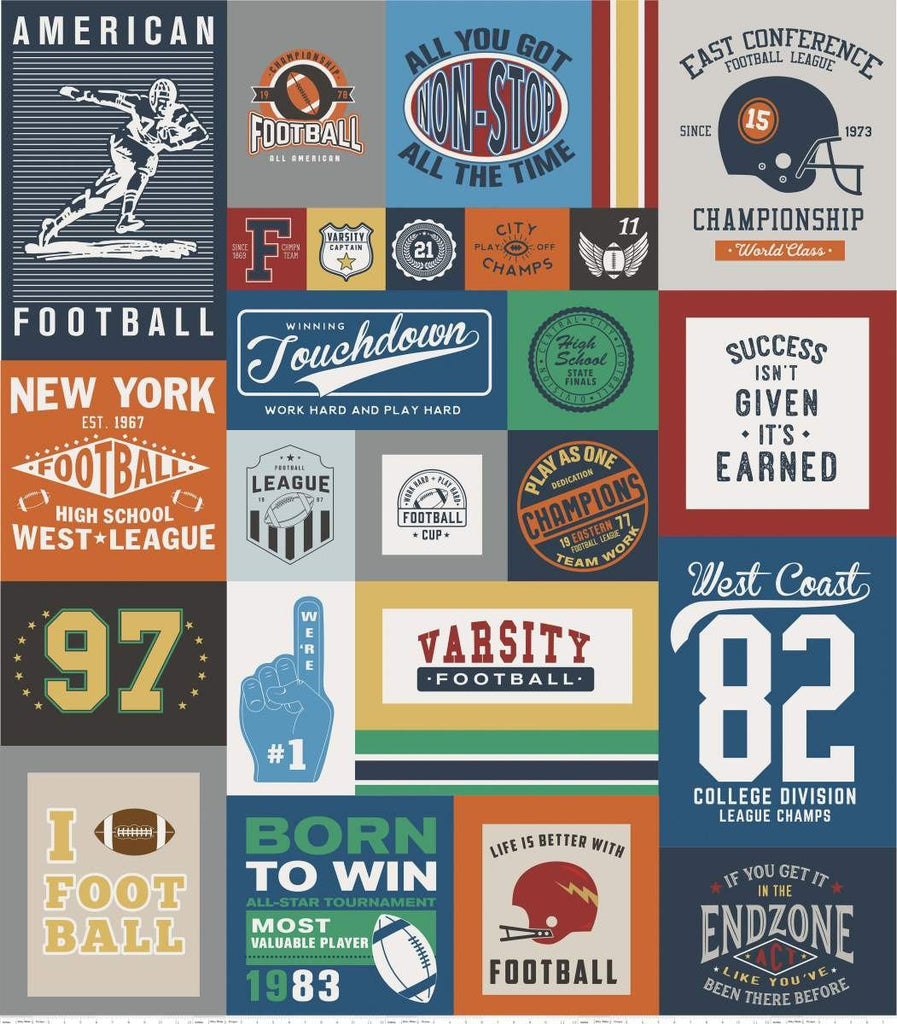SALE Varsity Football Digital Panel by Riley Blake Designs - Sports Sayings Logos Panel- Quilting Cotton Fabric