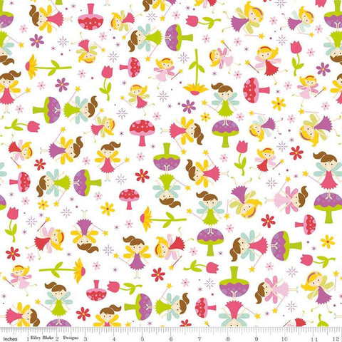 "Fairy Garden Toss White - Riley Blake Designs - Fairies Toadstools Flowers - Quilting Cotton Fabric - 1 yard 27"" end of bolt piece"