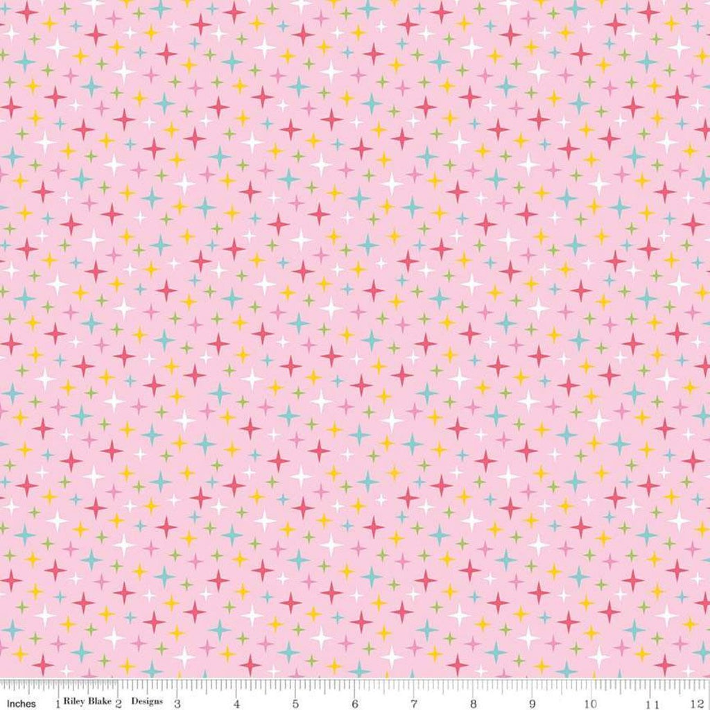 Fairy Garden Sparkle Pink - Riley Blake Designs - Non-Metallic Stars - Quilting Cotton Fabric - choose your cut