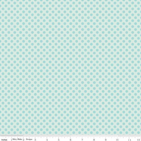 Fairy Garden Dot Blue - Riley Blake Designs - Tone on Tone Polka Dots - Quilting Cotton Fabric - end of bolt pieces