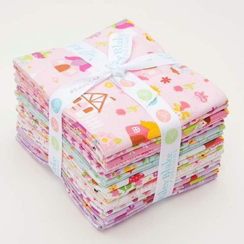 Fairy Garden Fat Quarter Bundle 18 pieces - Riley Blake Designs - Pre Cut Precut - Fairies Flowers - Quilting Cotton Fabric