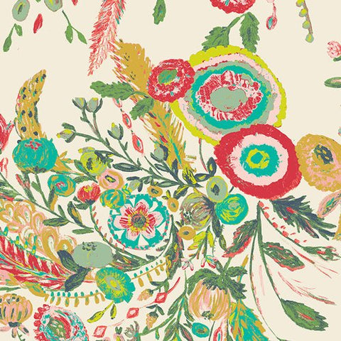 Microburst Tropics from Millie Fleur - Floral Flowers - Art Gallery - Jersey KNIT cotton lycra stretch fabric