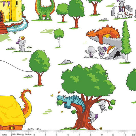 SALE Dragons Main White - Riley Blake Designs - Castles Knights Villages  - Quilting Cotton Fabric
