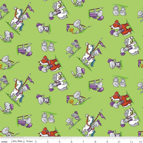 SALE Dragons Knights Green - Riley Blake Designs -  Horses Steeds - Quilting Cotton Fabric