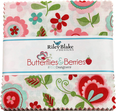 "Butterflies and Berries Charm Pack 5"" Stacker Bundle - Riley Blake Designs - 42 piece Precut Pre cut - Floral Fruit - Quilting Cotton Fabric"