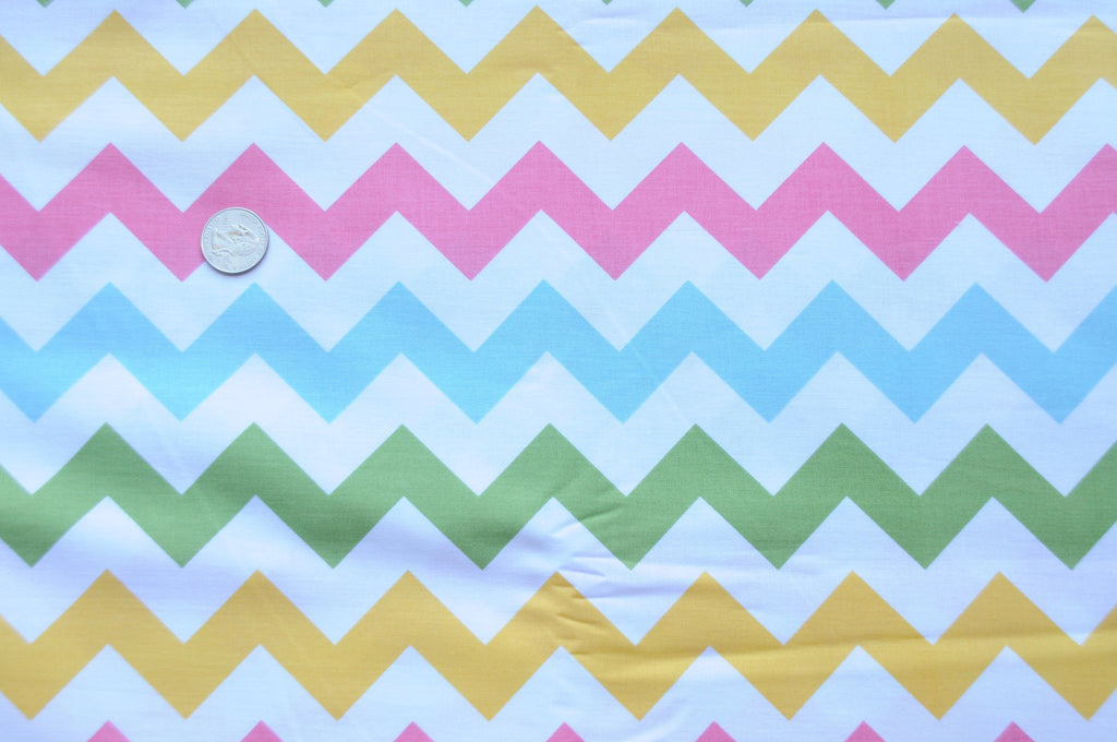 PRE WASHED CLEARANCE Medium Chevron Pastels Girl - Riley Blake Designs - Blue Pink Yellow Green - Quilting Cotton Fabric - by the yard