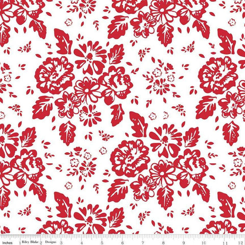 SALE So Ruby Main White - Riley Blake Designs - Red White Floral -  Quilting Cotton Fabric - choose your cut