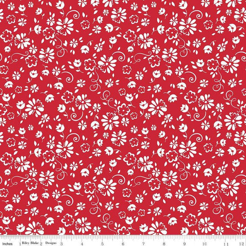 SALE So Ruby Floral Red - Riley Blake Designs - Red White Floral -  Quilting Cotton Fabric - choose your cut
