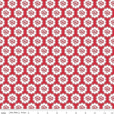 SALE So Ruby Scallop Red - Riley Blake Designs - Red White Floral -  Quilting Cotton Fabric - choose your cut