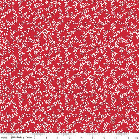 SALE So Ruby Leaf Red - Riley Blake Designs - Red White Floral -  Quilting Cotton Fabric - choose your cut