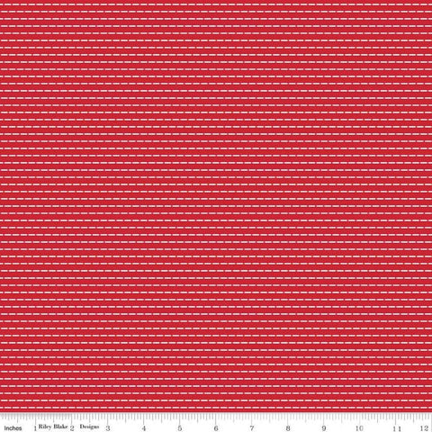 So Ruby Stripe Red - Riley Blake Designs - Red White Dashes -  Quilting Cotton Fabric - choose your cut
