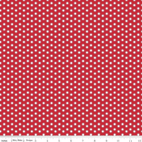 So Ruby Circle Red - Riley Blake Designs - Red White Polka Dots -  Quilting Cotton Fabric - choose your cut