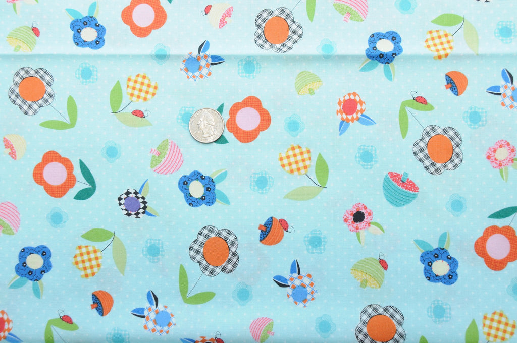 PRE WASHED CLEARANCE Patchwork Pals Flowers Aqua -Red Rooster Fabrics - Blue Tossed Flowers Floral - Quilting Cotton Fabric - by the yard