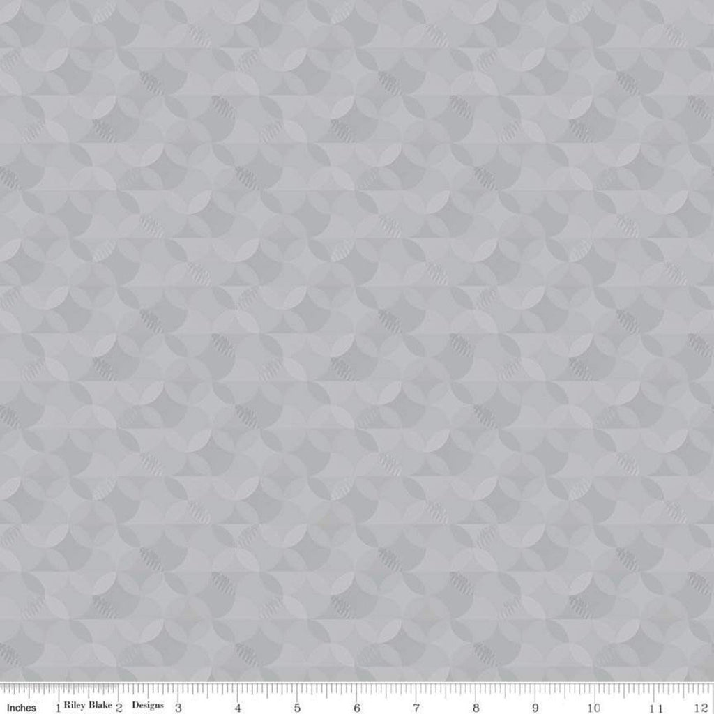 Crayola Kaleidoscope Granite Gray - Riley Blake Designs - Orange Peel Circle Pattern - Quilting Cotton Fabric