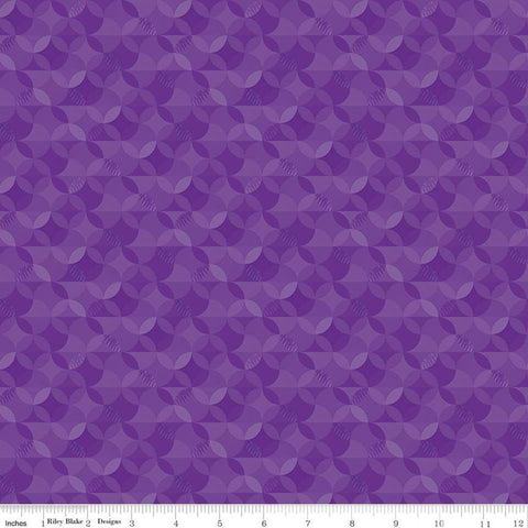 SALE Crayola Kaleidoscope Pouncy Purple - Riley Blake Designs - Orange Peel Circle Pattern - Quilting Cotton Fabric