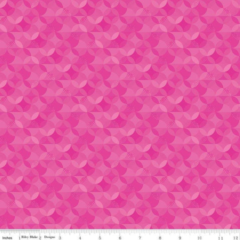 SALE Crayola Kaleidoscope Razzmatazz - Riley Blake Designs - Pink Orange Peel Circle Pattern - Quilting Cotton Fabric