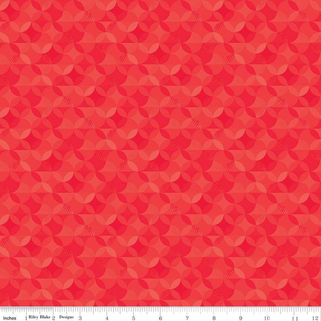 SALE Crayola Kaleidoscope Scarlet - Riley Blake Designs - Red Orange Peel Circle Pattern - Quilting Cotton Fabric