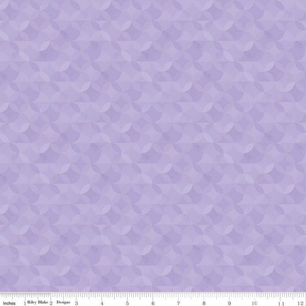 Crayola Kaleidoscope Wisteria - Riley Blake Designs - Purple Orange Peel Circle Pattern - Quilting Cotton Fabric