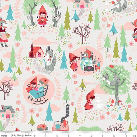 SALE Little Red in the Woods Main Cream - Riley Blake Designs - Red Riding Hood Grandma Wolf -  Quilting Cotton Fabric - choose your cut