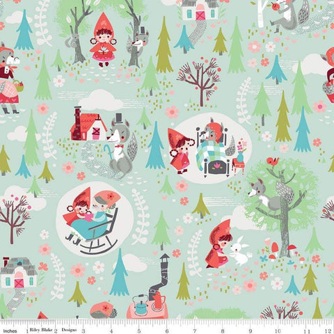SALE Little Red in the Woods Main Mint - Riley Blake Designs - Red Riding Hood Grandma Wolf Green-  Quilting Cotton Fabric - choose your cut