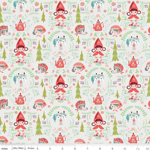 SALE Little Red in the Woods Damask Cream - Riley Blake Designs - Red Riding Hood Grandma Wolf -  Quilting Cotton Fabric - choose your cut