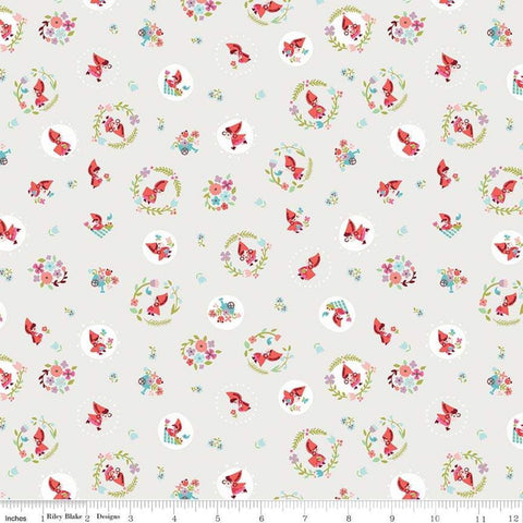 SALE Little Red in the Woods Tossed Cream - Riley Blake Designs - Little Red Riding Hood  -  Quilting Cotton Fabric - choose your cut