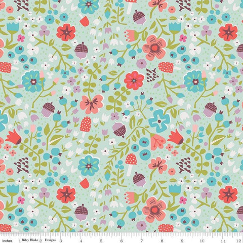 "SALE Little Red in the Woods Floral Mint - Riley Blake Designs - Green Flowers Mushrooms Acorns -  Quilting Cotton - 1 yard 12"" end of bolt"