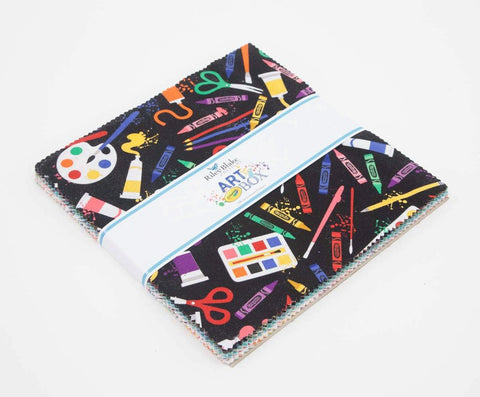 "Art Box Cake Layer Cake 10"" Stacker Bundle - Riley Blake Designs - 42 piece Precut Pre cut - Crayola Crayons - Quilting Cotton Fabric"
