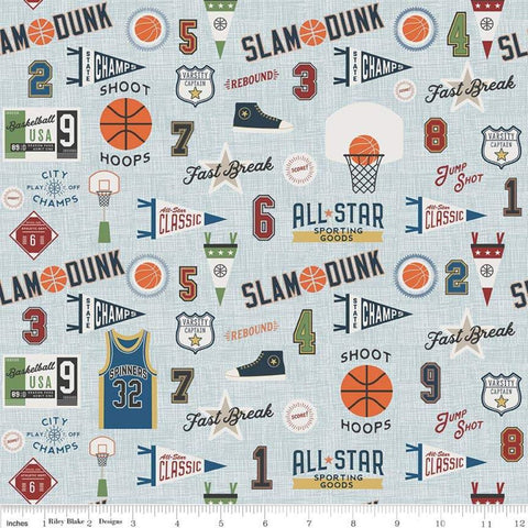 Varsity Basketball Main Blue - Riley Blake Designs - Sports Jerseys Shoes Pennants Hoops - Quilting Cotton Fabric