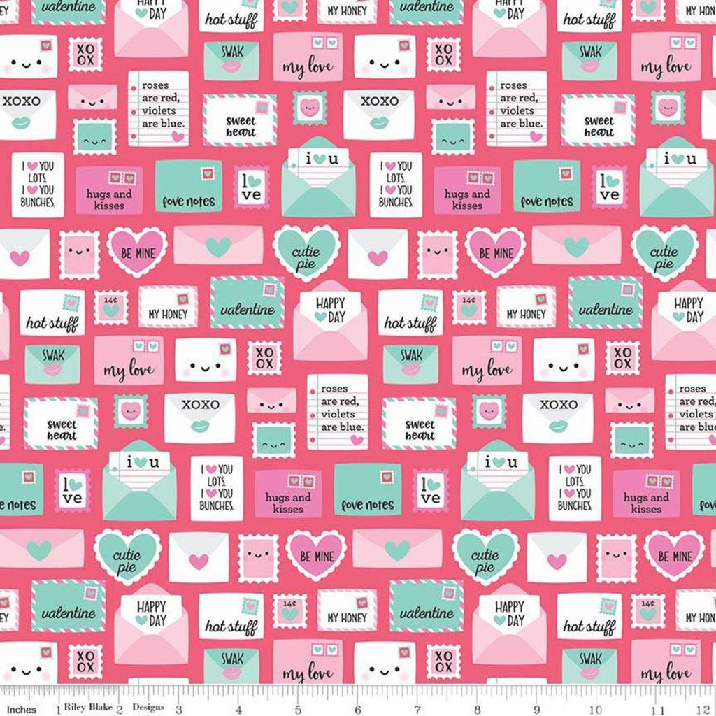 Punny Valentine Novelty Dark Pink - Riley Blake Designs - Pink Teal Envelopes Hearts -  Quilting Cotton Fabric