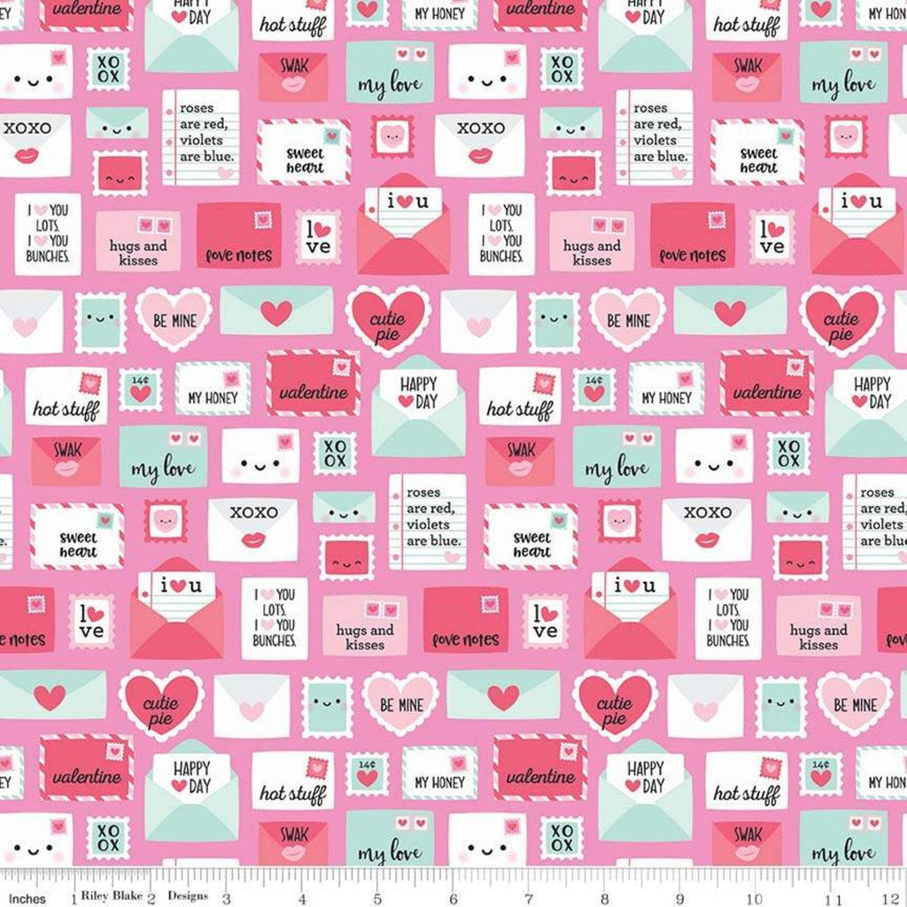 Punny Valentine Novelty Pink - Riley Blake Designs - Pink Teal Envelopes Hearts -  Quilting Cotton Fabric
