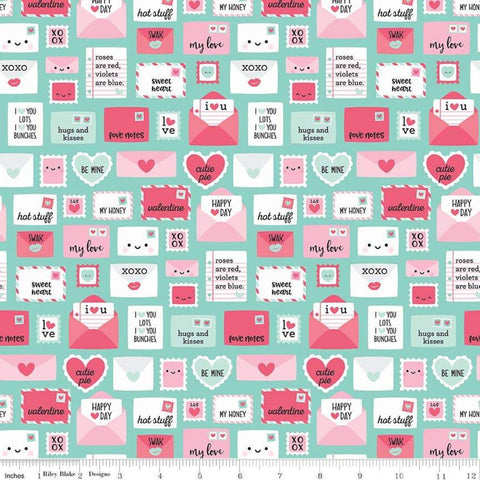 SALE Punny Valentine Novelty Teal - Riley Blake Designs - Green Pink Envelopes Hearts -  Quilting Cotton Fabric - fat quarter