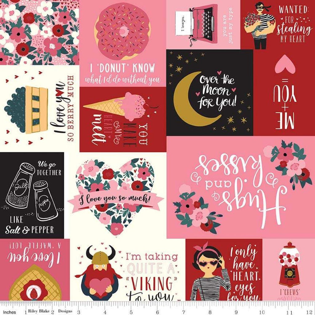 Hello Sweetheart Main Black SPARKLE - Riley Blake Designs - Valentines Text Gold Sparkle - Quilting Cotton Fabric