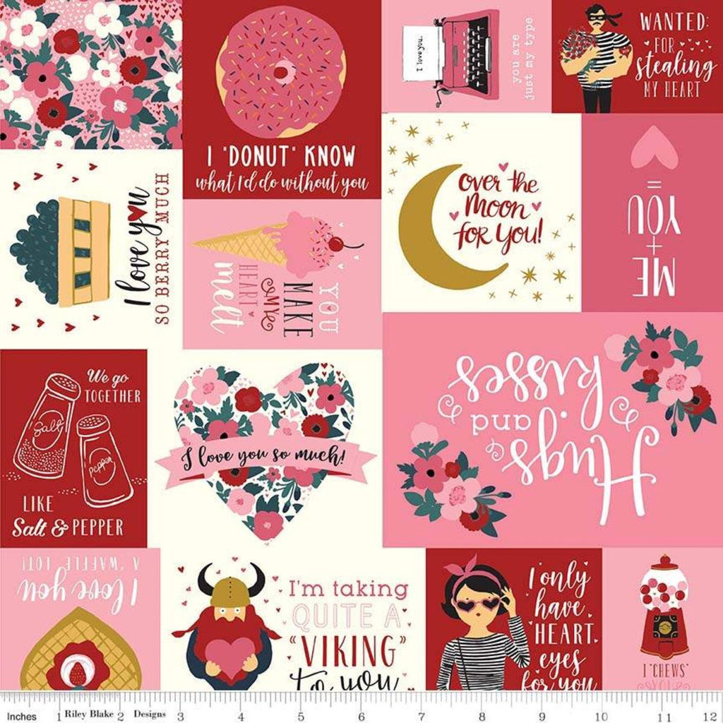 Hello Sweetheart Main Cream SPARKLE - Riley Blake Designs - Valentines Text Gold Sparkle - Quilting Cotton Fabric - choose your cut