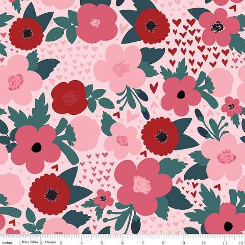 SALE Hello Sweetheart Floral Pink - Riley Blake Designs - Flowers Hearts Red -  Quilting Cotton Fabric