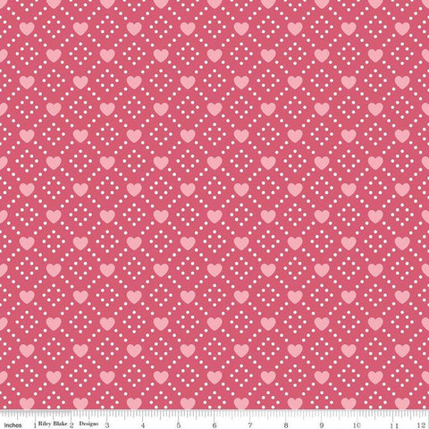 SALE Hello Sweetheart Diamond Pink - Riley Blake Designs - Geometric Hearts Dots -  Quilting Cotton Fabric