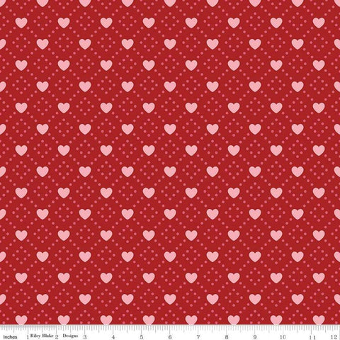 SALE Hello Sweetheart Diamond Red - Riley Blake Designs - Geometric Hearts Dots Pink -  Quilting Cotton Fabric