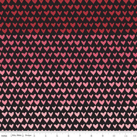 SALE Hello Sweetheart Gradient Black - Riley Blake Designs - Red Pink Hearts -  Quilting Cotton Fabric