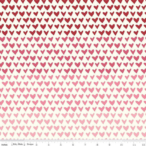 SALE Hello Sweetheart Gradient Cream - Riley Blake Designs - Red Pink Hearts -  Quilting Cotton Fabric