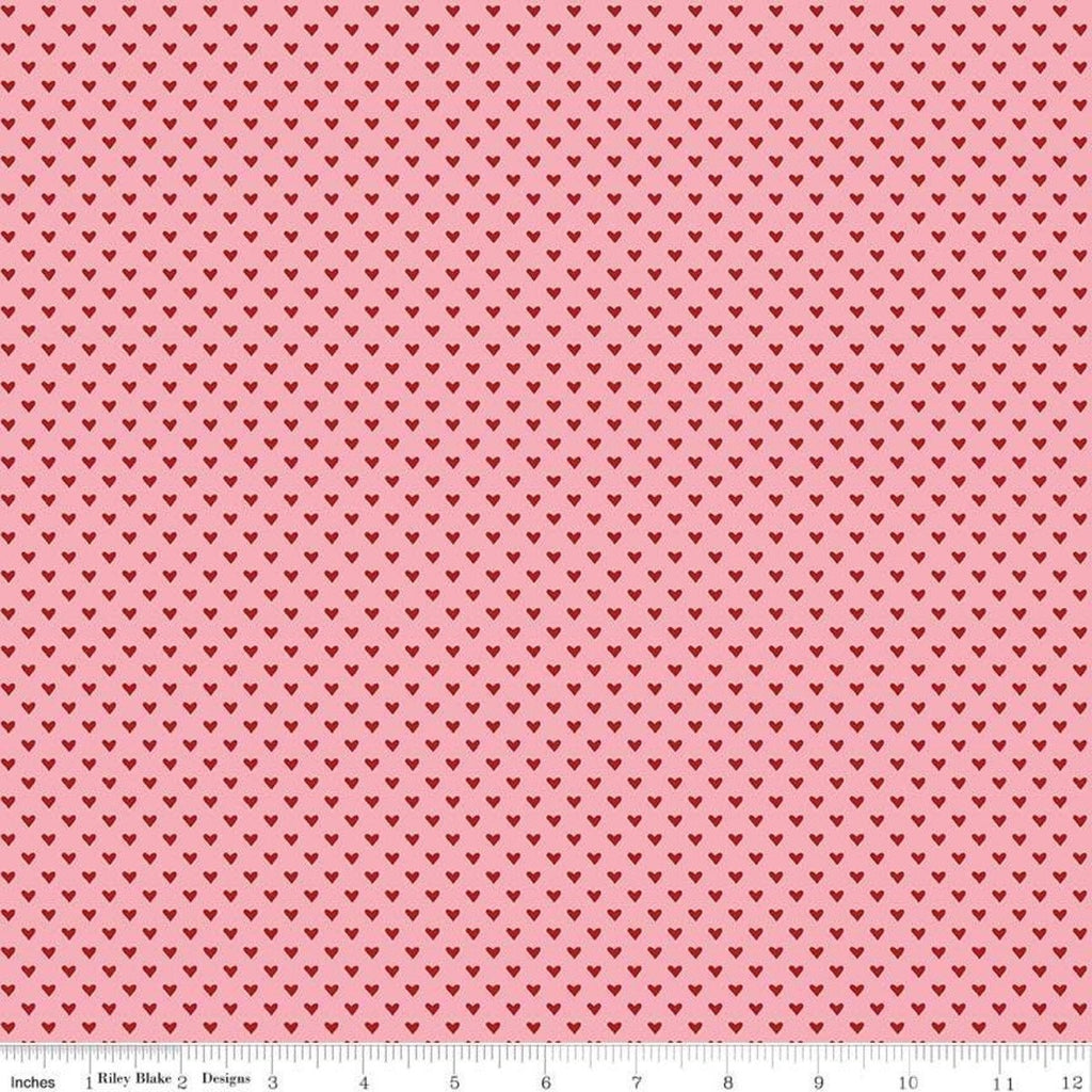 Hello Sweetheart Mini Hearts Pink - Riley Blake Designs - Red Hearts -  Quilting Cotton Fabric