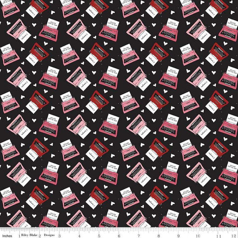 SALE Hello Sweetheart Typewriter Black - Riley Blake Designs - Red Pink Love Notes -  Quilting Cotton Fabric