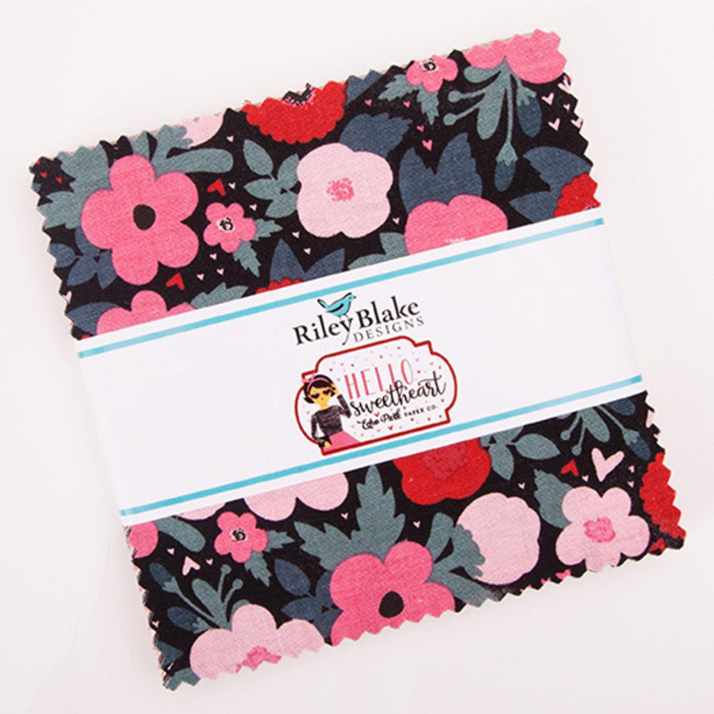 "SALE Hello Sweetheart Charm Pack 5"" Stacker Bundle - Riley Blake Designs - 42 piece Precut Pre cut - Valentine's - Quilting Cotton Fabric"